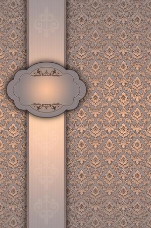 Ornate vintage background with elegant frame,decorative border and floral old-fashioned patterns.