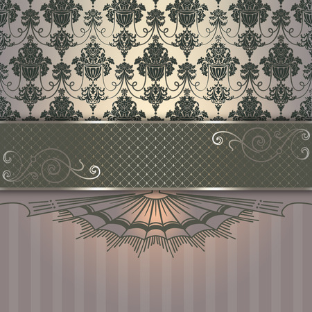 oldfashioned: Ornate vintage background with decorative border and old-fashioned elegant patterns. Stock Photo
