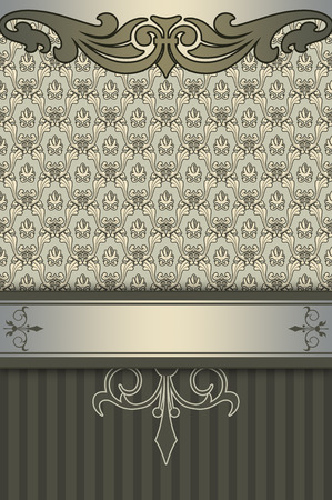 coverbook: Decorative background with vintage ornament and border. Cover-book or vintage invitation card design. Stock Photo
