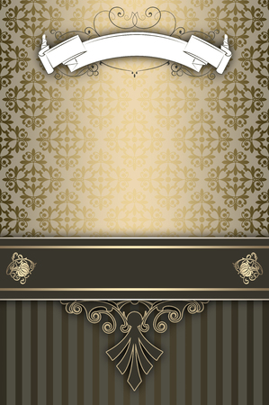 old fashioned menu: Ornate vintage background with decorative patterns,white scroll and decorative border. Vintage invitation card or cover-book design.