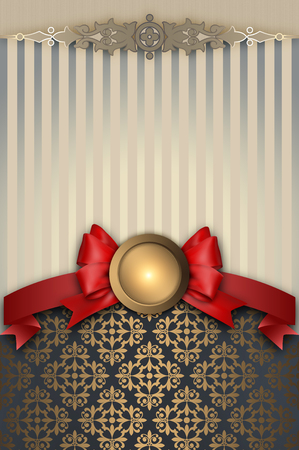 greeting card background: Elegant background with gold frame,red ribbon and bow and decorative ornament.