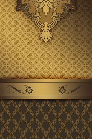 oldfashioned: Gold vintage background with decorative border and old-fashioned ornament.