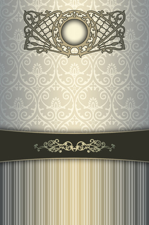 coverbook: Ornate background with vintage ornament,decorative border and old-fashioned ornamental frame. Cover-book or vintage invitation card design.