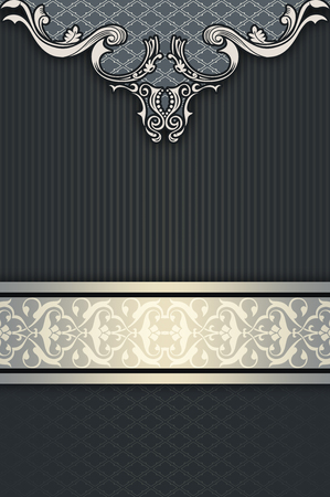 coverbook: Decorative vintage background with old-fashioned borders and copy space for the text. Vintage invitation card or cover-book design.