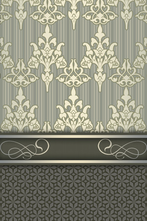 coverbook: Vintage ornate background with decorative ornament and border. Vintage invitation card or cover-book design.