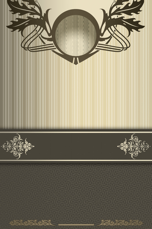 coverbook: Vintage background with decorative border and old-fashioned patterns. Vintage invitation card or cover-book design.