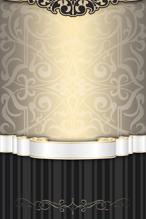 white ribbon: Vintage background with decorative ornament and elegant white ribbon.