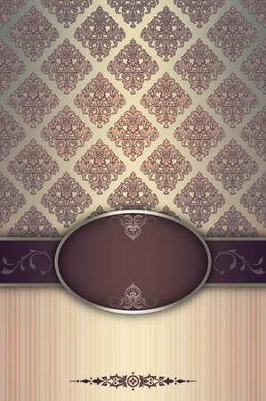 oldfashioned: Vintage background with old-fashioned ornament and decorative frame. Stock Photo