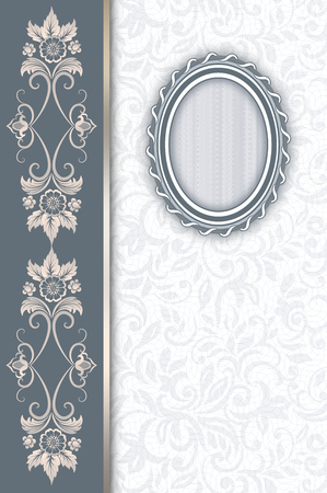 greeting card background: Vintage background with old-fashioned oval frame,border and floral patterns.