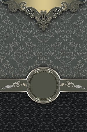 coverbook: Vintage ornate background with decorative borders and elegant old-fashioned patterns. Vintage invitation card or cover-book design.