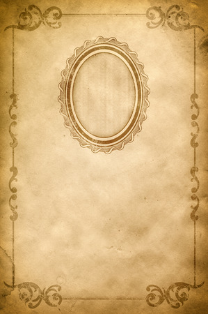 Grunge Paper With Decorative Vintage Border Old Fashioned Frame And Copy Space For The