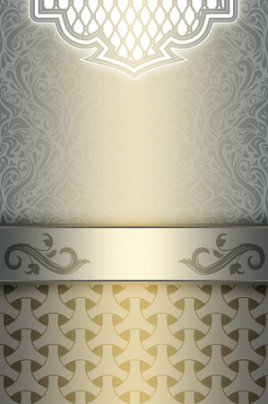 coverbook: Vintage background with decorative borders and old-fashioned patterns. Vintage invitation card or cover-book design. Stock Photo