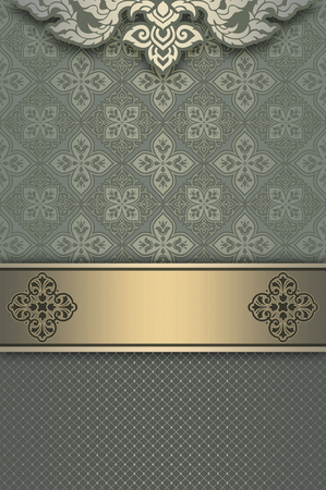 oldfashioned: Vintage background with decorative borders and old-fashioned patterns. Vintage invitation card or cover-book design. Stock Photo