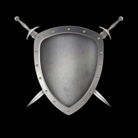 riveted: Medieval silver shield with riveted border and two swords. Isolated on black background.