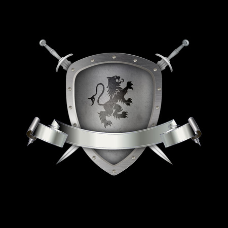 riveted: Silver riveted shield with lion,silver ribbon and two swords on black background.