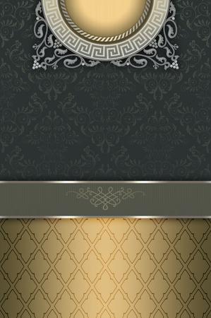 coverbook: Decorative vintage background with elegant border,floral patterns and frame. Vintage invitation card or cover-book design.