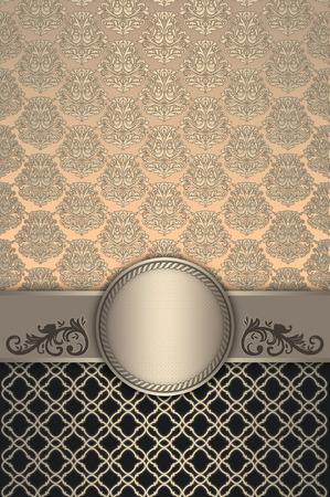 coverbook: Vintage background with decorative ornament,elegant patterns and frame. Vintage invitation card or cover-book design.