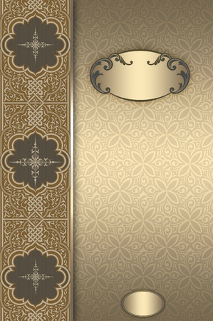 coverbook: Vintage background with decorative frame,ornamental border and old-fashioned floral patterns. Cover-book or vintage invitation card design.