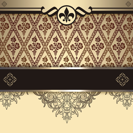 coverbook: Vintage background with decorative patterns and elegant border. Vintage invitation card or cover-book design.