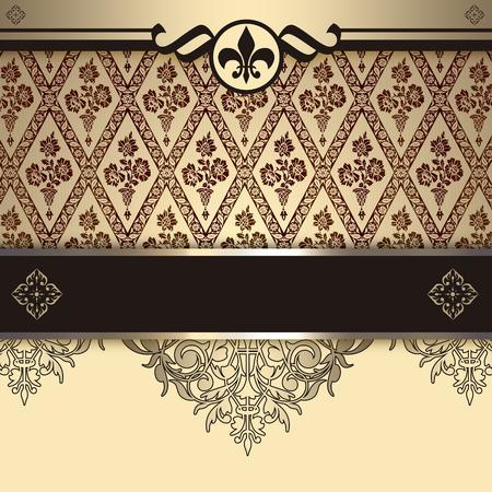coverbook: Vintage background with decorative patterns and elegant border. Vintage invitation card or cover-book design.