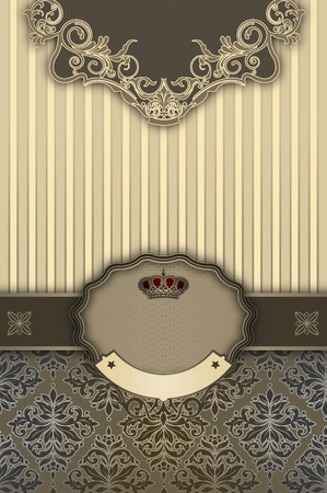 coverbook: Luxury vintage background with decorative border,frame and old-fashioned patterns. Vintage invitation card or cover-book design. Stock Photo