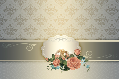 gold rings: Decorative background with flowers,gold rings,frame and elegant ornament. Wedding background.