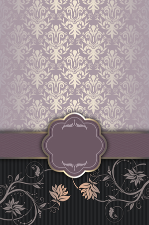 Decorative vintage background with elegant patterns and frame. Stock Photo