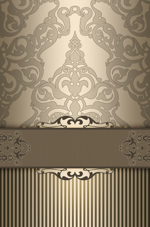 coverbook: Vintage background with decorative patterns and border.