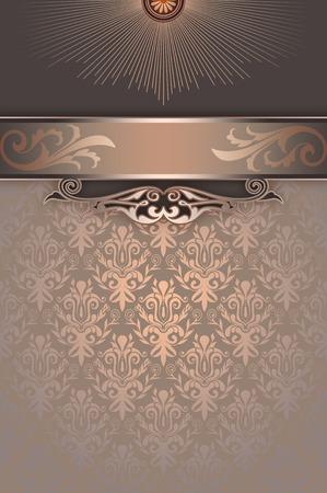 coverbook: Vintage background with decorative patterns and border. Cover-book or vintage invitation card design.