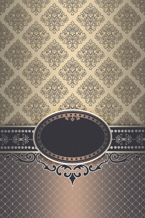 coverbook: Vintage background with decorative border,frame and old-fashioned patterns. Vintage invitation card or cover-book design. Stock Photo