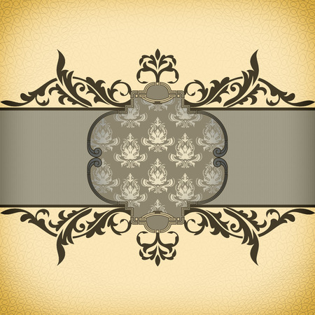 Vintage background with decorative frame and old-fashioned patterns.
