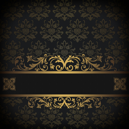 coverbook: Vintage background with old-fashioned patterns and border with gold ornament. Stock Photo