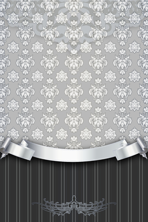 silver ribbon: Vintage background with decorative patterns and silver ribbon.