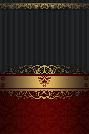 Vintage background with decorative gold border and old-fashioned ornament. Stock Photo