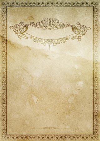 scroll border: Old stained grunge paper background with decorative old-fashioned border and ornamental scroll. Stock Photo