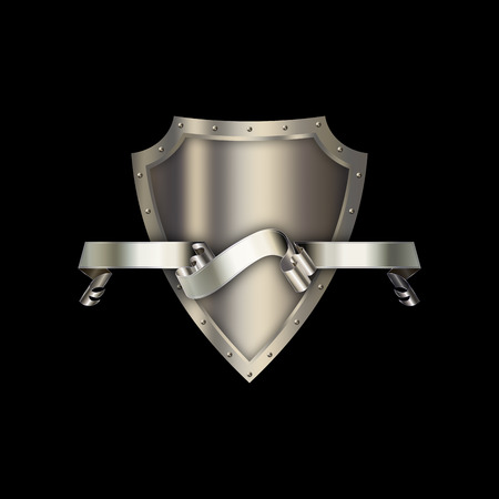 riveted: Medieval riveted shield with silver ribbon on black background. Stock Photo