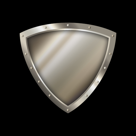 riveted: Medieval shield with riveted border on black background.