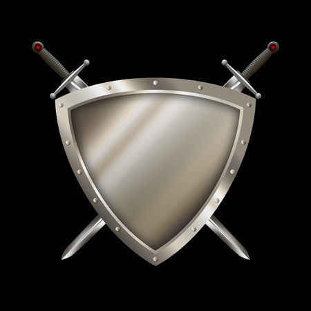 riveted: Shield with riveted border and two swords on black background.