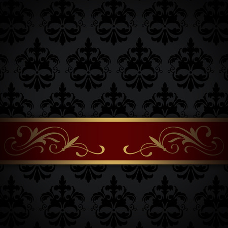 coverbook: Black vintage background with gold and red border and old-fashioned patterns. Stock Photo