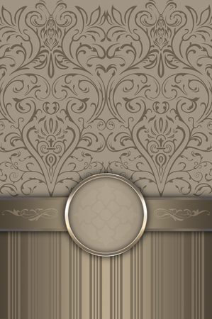 Vintage background with decorative patterns,old-fashioned frame and border. Stock Photo