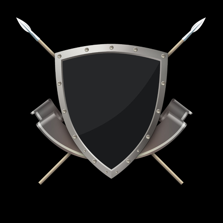 riveted: Silver riveted shield with silver ribbon and two spears on black background.