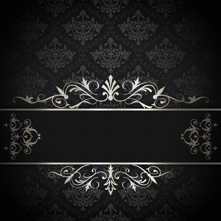 coverbook: Vintage background with decorative patterns and elegant border. Black and white style.
