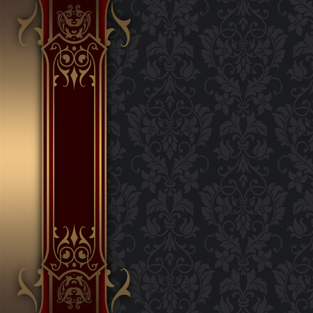 coverbook: Luxury background with vintage patterns and decorative gold border. Vintage invitation card or cover-book design.