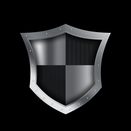 riveted: Silver shield with riveted border on black background.
