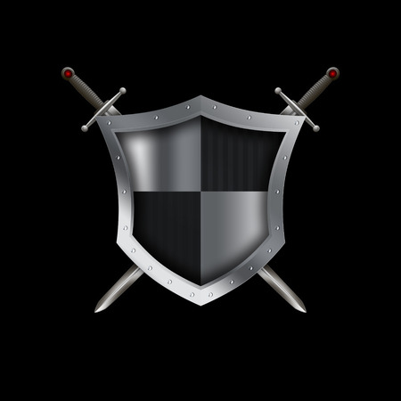 Silver shield with riveted border and two swords on black background. Stock Photo