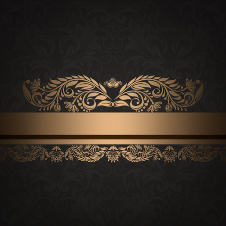 Gold and black vintage background with decorative floral border and patterns. Stock Photo