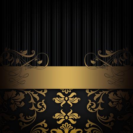 Vintage background with gold floral patterns.