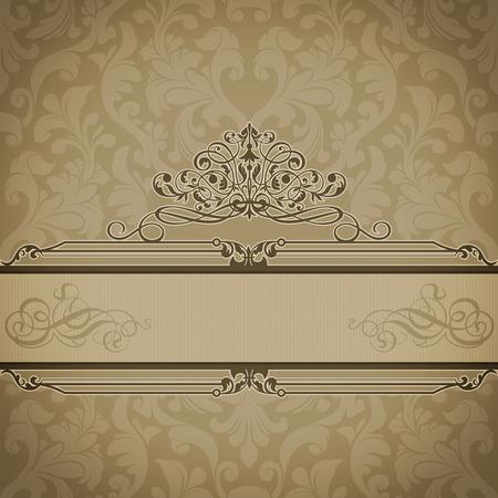 Decorative vintage background with old-fashioned patterns and elegant ornamental border.