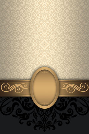Decorative vintage background with gold frame and old-fashioned patterns.