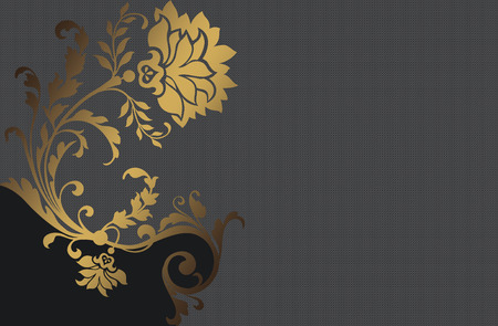 gold floral: Background with gold and red floral patterns. Vintage invitation card or book cover design.